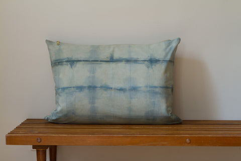 Blue Green Wire Shibori Pillow