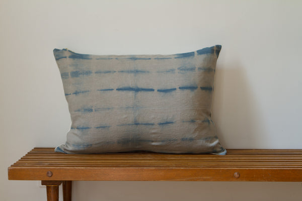 Medium Blue Lines Shibori Pillow