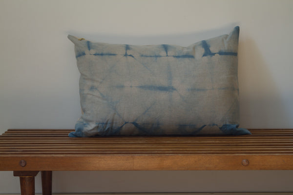 Medium Blue Grid Shibori Pillow