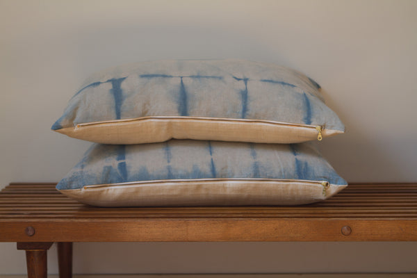 Medium Blue Stripe Shibori Pillow