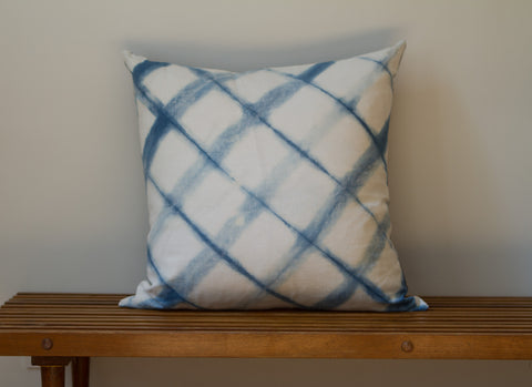 Blue Denim Angle Grid Shibori Pillow