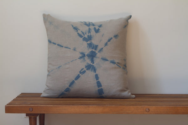 Medium Blue Web Shibori Pillow