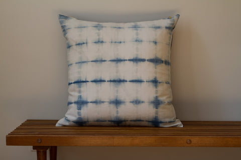 Blue Denim Grid Shibori Pillow