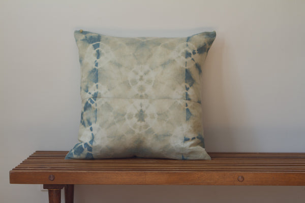 Blue Green Cirlces Shibori Pillow