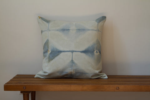Blue Green Hex Shibori Pillow