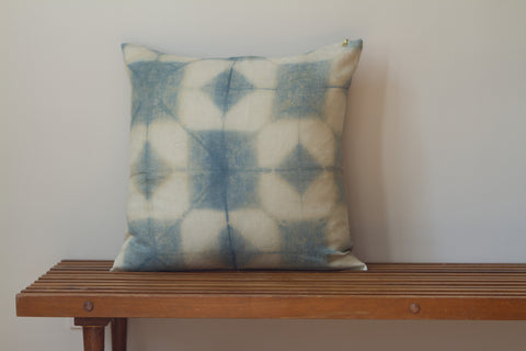 Blue Green Star Grid Shibori Pillow