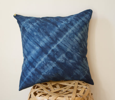 Cobalt Blue Lines Shibori Pillow