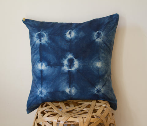 Cobalt Rings Shibori Pillow
