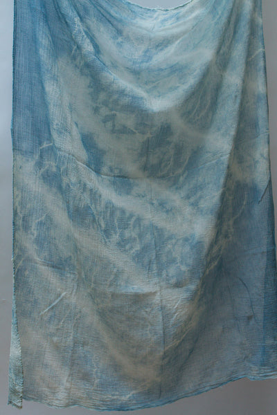 "Shibori Cotton Gauze Scarf ""Waves"""