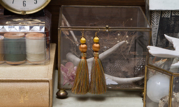 Vintage Silk Tassle Earrings
