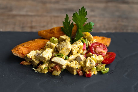 Coronation Chicken with Sweet Potato Wedges