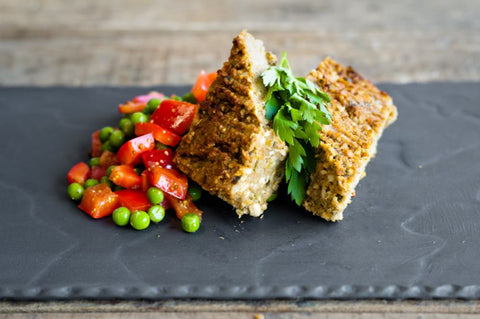 Nut Loaf with Pepper, Pea & Parsley Salad