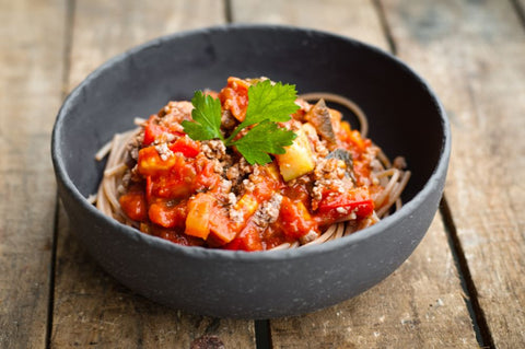 Beef Bolognaise Served with Spelt Spaghetti