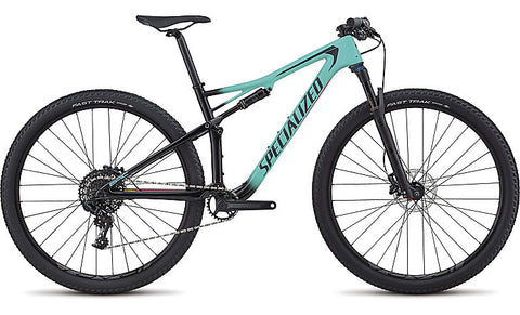 2018 Specialized Women's Epic Comp Carbon Gloss Satin Acid Mint Fade/Tarmac Black/Acid Pink
