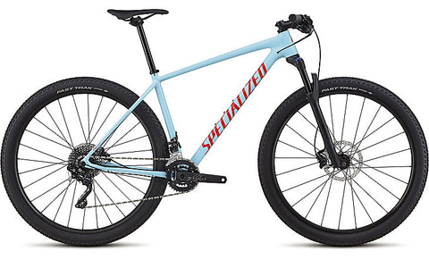 2018 Specialized Men's Chisel Comp Gloss Light Blue / Rocket Red