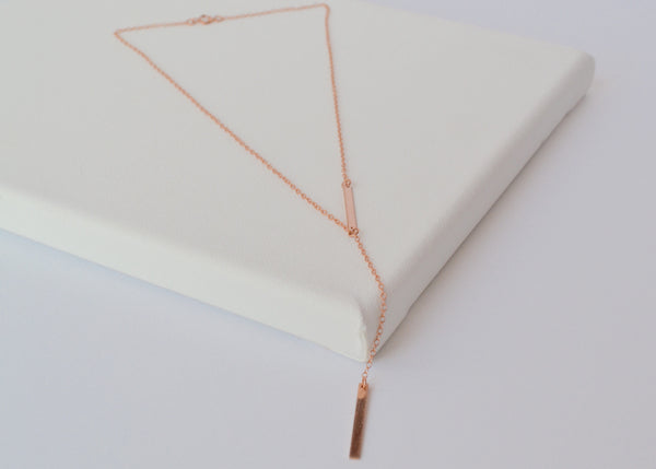 Rose Gold INÈS Lariat Necklace