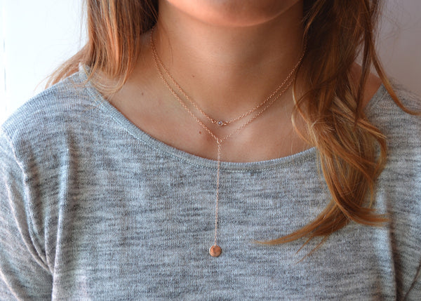 Rose Gold PÉNÉLOPE Lariat Necklace
