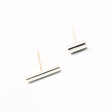 Asym Bar Silver Post Earrings