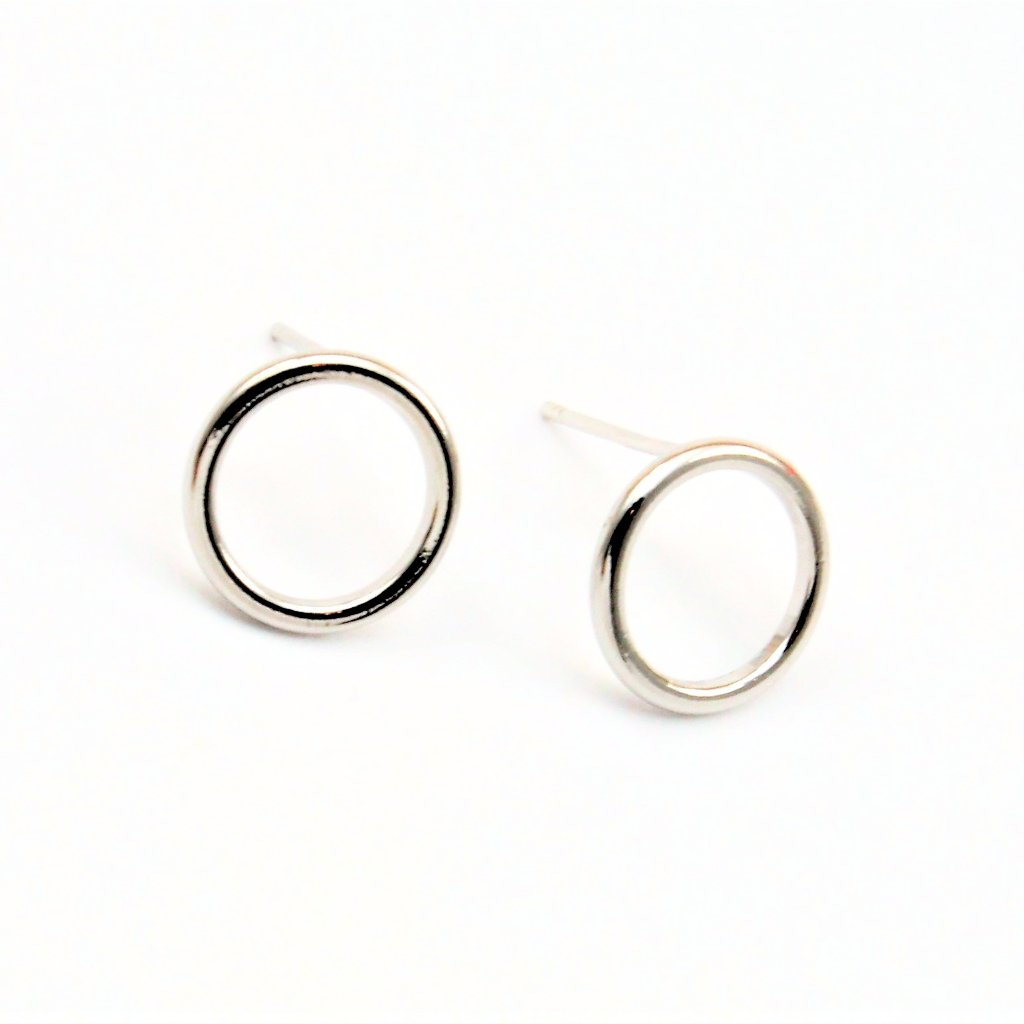 Open Circle Silver Post Earrings