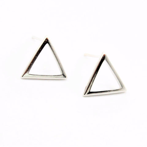 Open Triangle Silver Post Earrings