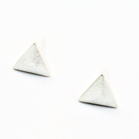Small Triangle Silver Post Earrings