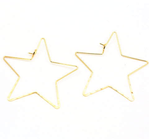 Wire Star Hoop Earrings