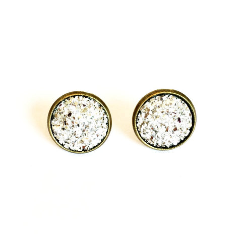 Druzy Post Earring