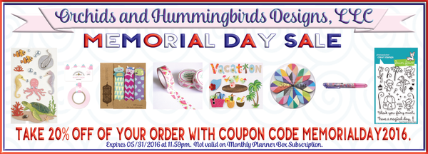 OandHDesigns.com Memorial Day 2016 SALE