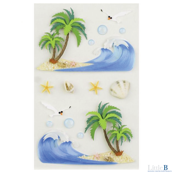 Little B Medium 3D Stickers - Waves & Sandshore - Stickers - Little B - Orchids and Hummingbirds Designs, LLC