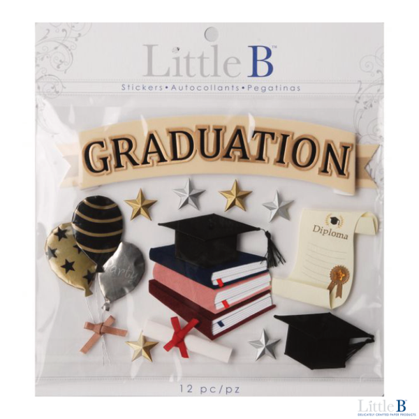 Little B Large 3D Stickers - Graduation - Orchids and Hummingbirds Designs, LLC