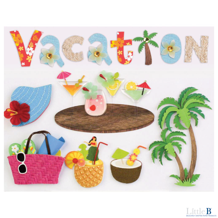 Little B Large 3D Stickers - Vacation - Stickers - Little B - Orchids and Hummingbirds Designs, LLC