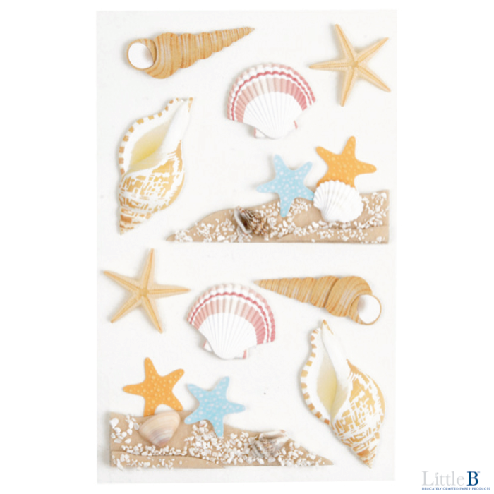 Little B Medium 3D Stickers - Sea Shells - Stickers - Little B - Orchids and Hummingbirds Designs, LLC