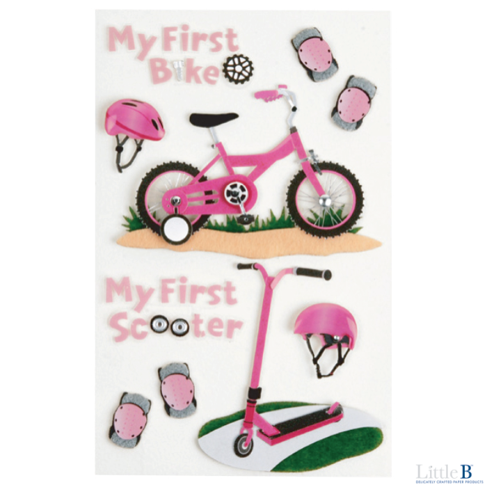 Little B Medium 3D Stickers - First Bicycle Girl - Orchids and Hummingbirds Designs, LLC