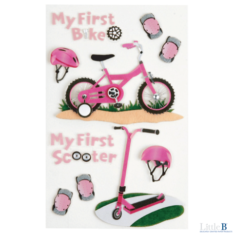 Little B Medium 3D Stickers - First Bicycle Girl - Stickers - Little B - Orchids and Hummingbirds Designs, LLC