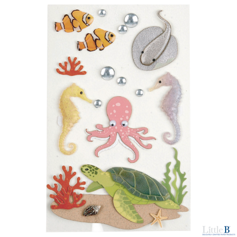 Little B Medium 3D Stickers - Sea Creatures - Stickers - Little B - Orchids and Hummingbirds Designs, LLC