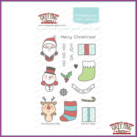 The Greeting Farm Pop Out Xmas Stamp Set - Stamps - The Greeting Farm - Orchids and Hummingbirds Designs, LLC