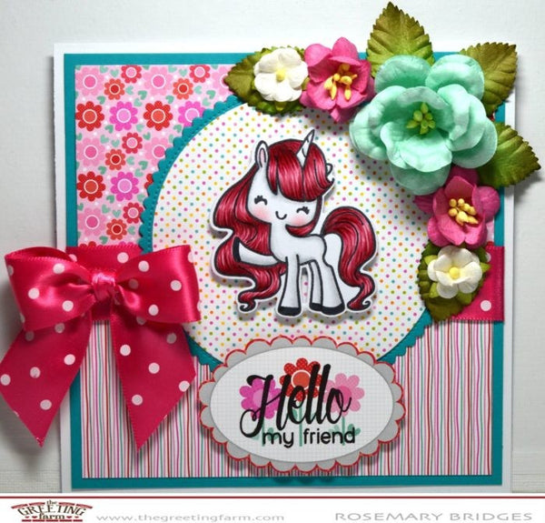 The Greeting Farm Hello Unicorn Stamp Set - Stamps - The Greeting Farm - Orchids and Hummingbirds Designs, LLC