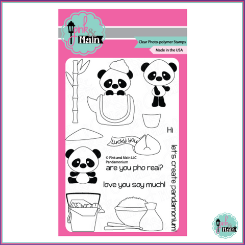 Pink & Main Pandamonium Stamp Set - Stamps - Pink & Main - Orchids and Hummingbirds Designs, LLC