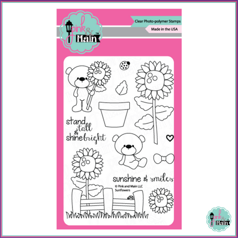 Pink & Main Sunflowers Stamp Set - Stamps - Pink & Main - Orchids and Hummingbirds Designs, LLC
