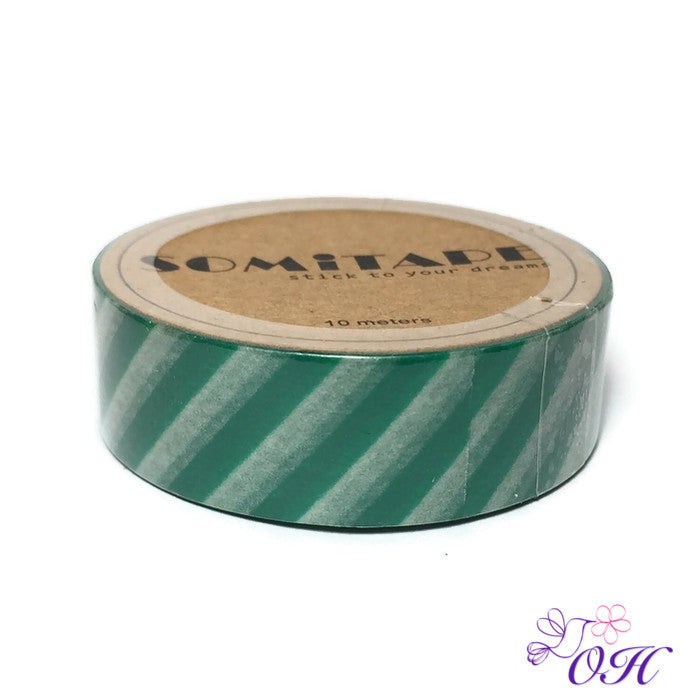 Somitape Green Stripes Washi Tape - Washi Tape - Somitape - Orchids and Hummingbirds Designs, LLC