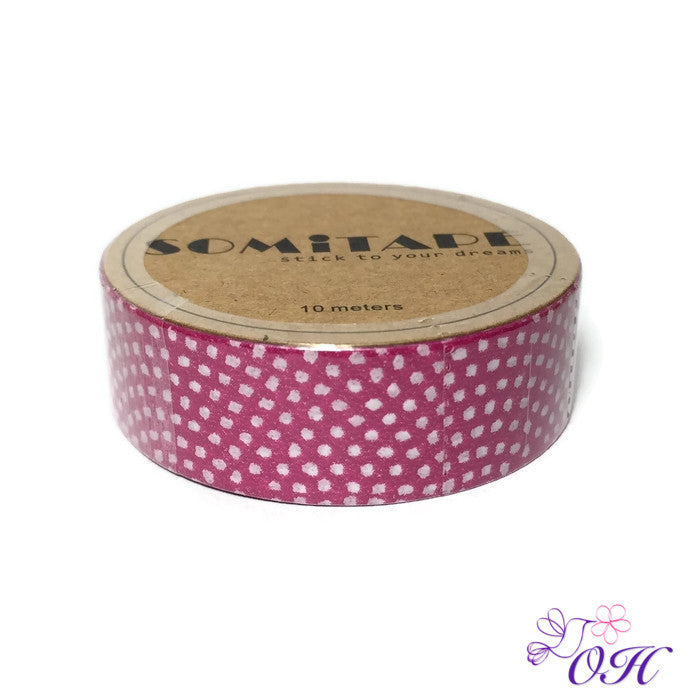 Somitape White Dots on Pink Washi Tape - Washi Tape - Somitape - Orchids and Hummingbirds Designs, LLC