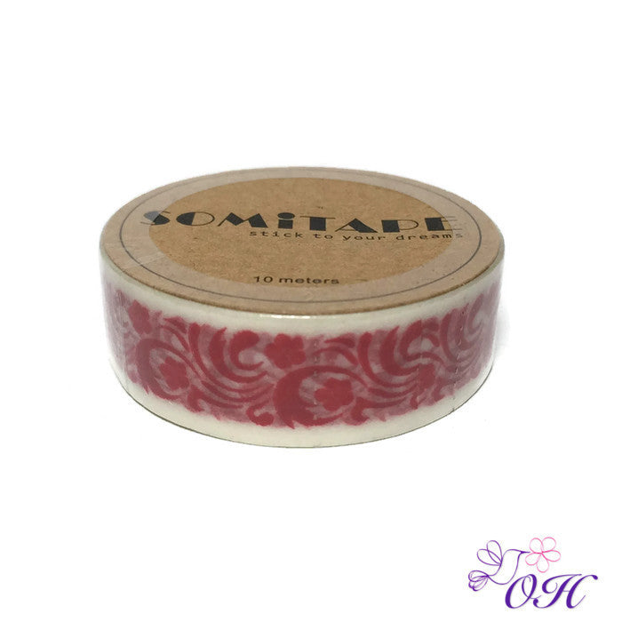 Somitape Red Flourish Washi Tape - Washi Tape - Somitape - Orchids and Hummingbirds Designs, LLC