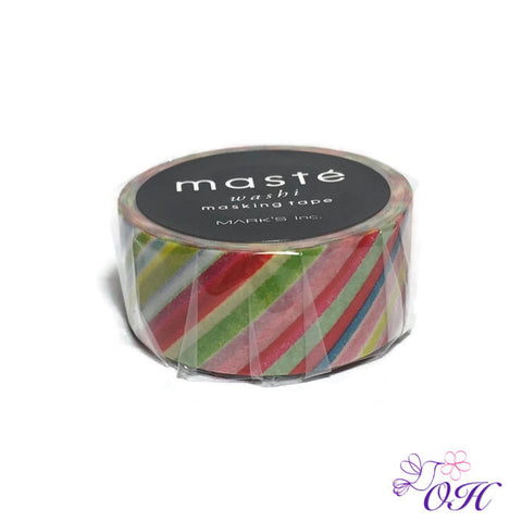 masté Colorful Stripe Washi Tape - Washi Tape - masté - Orchids and Hummingbirds Designs, LLC