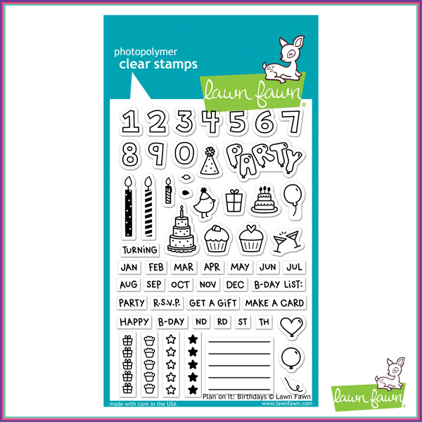 Lawn Fawn Plan On It: Birthdays Stamp Set - Stamps - Lawn Fawn - Orchids and Hummingbirds Designs, LLC