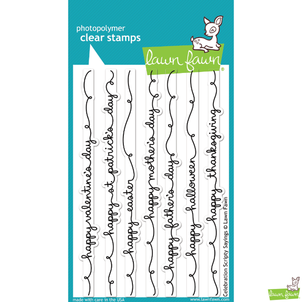 Lawn Fawn Celebration Scripty Sayings Stamp Set - Stamps - Lawn Fawn - Orchids and Hummingbirds Designs, LLC