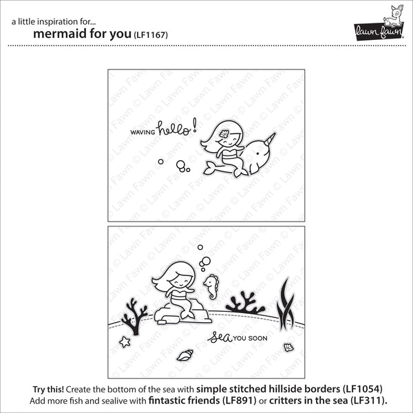 Lawn Fawn Mermaid for You Stamp Set - Stamps - Lawn Fawn - Orchids and Hummingbirds Designs, LLC