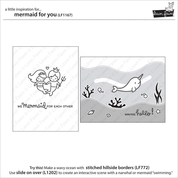 Lawn Fawn Mermaid for You Stamp Set - Stamps - Lawn Fawn - Orchids and Hummingbirds Designs, LLC  - 3