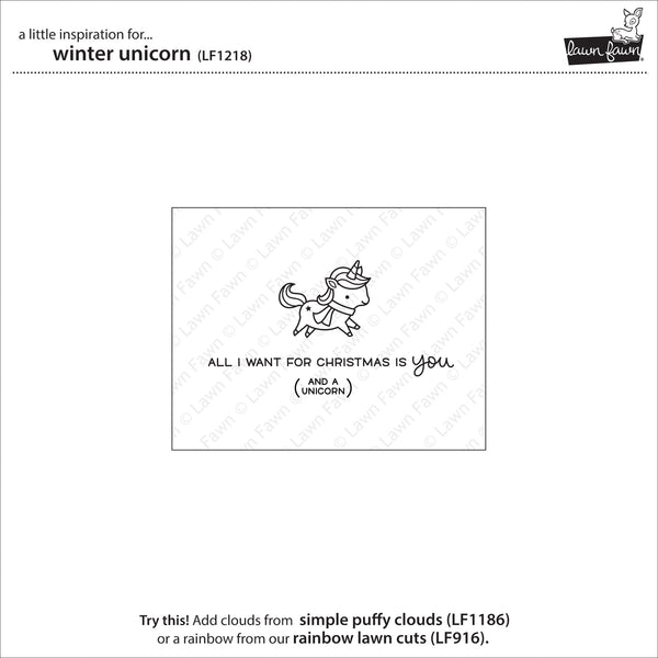 Lawn Fawn Winter Unicorn Stamp Set - Stamps - Lawn Fawn - Orchids and Hummingbirds Designs, LLC