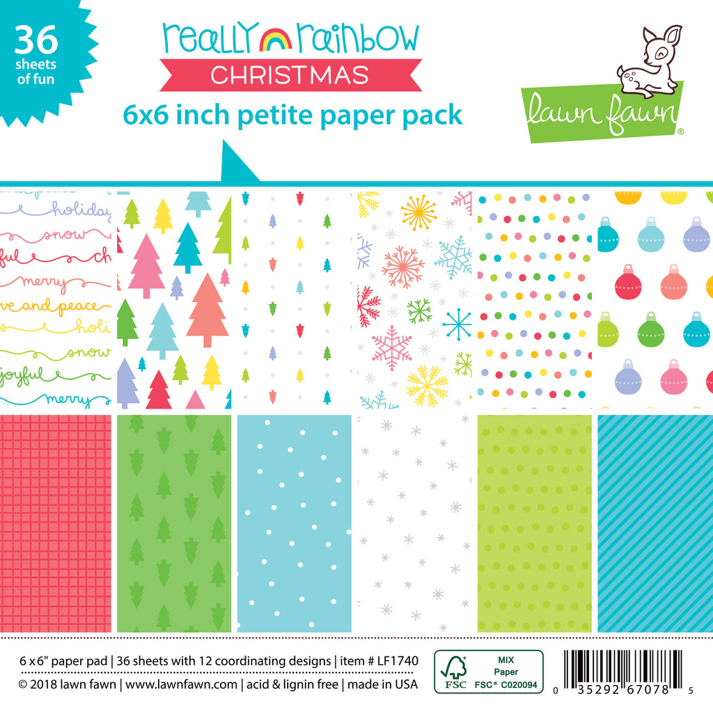 Lawn Fawn really rainbow christmas petite paper pack - Scrapbooking Supplies - Lawn Fawn - Orchids and Hummingbirds Designs, LLC