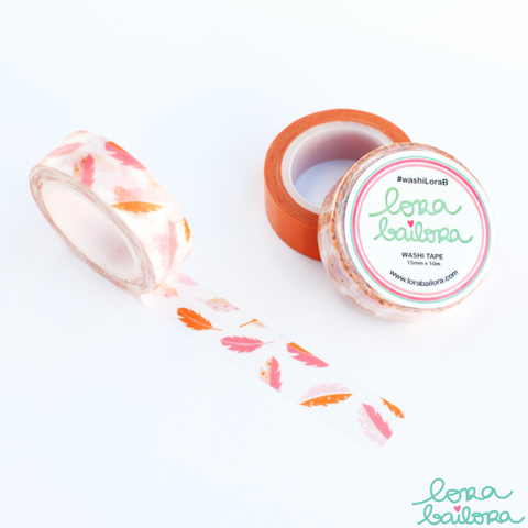 Lora Bailora Feathers Washi Tape - Lora Bailora - Orchids and Hummingbirds Designs, LLC